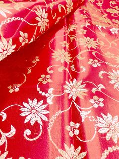 Red w GOLD FLORAL EMBROIDERED FAUX SILK SHANTUNG CHINESE FABRIC DRESS DECOR $6.99/yd