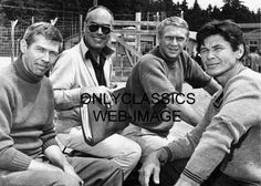 """Actors James Coburn, John Sturges, Steve McQueen and Charles Bronson on the set of the film """"The Great Escape"""" Hollywood Stars, Classic Hollywood, Old Hollywood, Hollywood Actresses, Jackie Gleason, Sundance Kid, Donald Sutherland, Fred Astaire, Orange Cinema"""