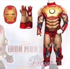 Deluxe Incredible Iron Man Age 3-8 Boys Fancy Dress Kids Marvel Avengers Costume