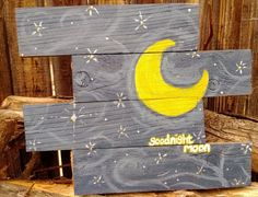 Handmade, reclaimed wood - Goodnight moon nursery home decor $45.00