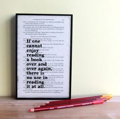 Enduring pearls of wisdom from Oscar Wilde printed onto a page from an upcycled copy of his Complete Plays. This framed quote makes a great gift for