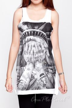 4f94d5d642fce8 Statue of Liberty Shirts Tattoo Funny Graphic Shirt White Tank Top Women Top  Singlet Vest Sleeveless