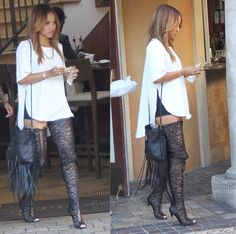 Karreuche Tran beats to her own drum, and I love every minute of it!!!  These leather lace thigh high peep toe boots are EVERYTHING!