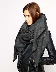 ASOS Plain Oversized Scarf With Blanket Stitch