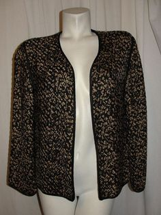 Chico's Design Jacket Women's Size 1 M Brown Black Silk Woven Long Sleeve Career #Chicos #BasicJacket #CareerDressy