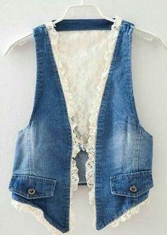 Denim lace vest - great idea for jeans upcycle Sewing Clothes, Diy Clothes, Gilet Jeans, Denim Vests, Diy Vetement, Denim Ideas, Lace Vest, Denim Crafts, Denim And Lace