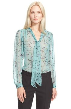 Rebecca Taylor Floral Print Tie Neck Top available at #Nordstrom