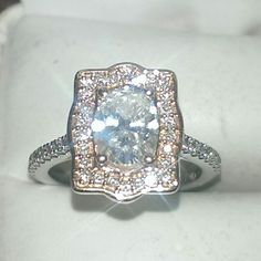 Diamond engagement ring set in 14k white and rose gold.