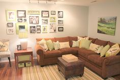 love the greens! Basement turned living room! love it.