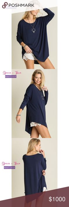 "Navy Asymmetrical Long Sleeve Top BRAND NEW  Asymmetrical long sleeve top. Fabric is Cotton Blend. Fits loose. Color: Navy  Submit your offer thru the ""Offer"" button NO Price discussion in the comment NO Lowballing NO Trades Davin+Theia Tops"