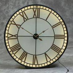 This large black & gold back lit glass wall clock with roman numerals and a Westminster Big Ben look. An unusual large classic wall clock Extra Large Wall Clock, Big Wall Clocks, Big Ben Clock, Mirror Wall Clock, Pendulum Wall Clock, Kitchen Wall Clocks, Unique Wall Clocks, Minimalist Wall Clocks, Skeleton Wall Clock