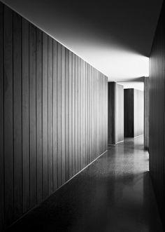 Timber clad corridor wall