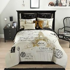 Glamorous Gold, Black And White (8) Piece Full Paris, Eiffel tower Comforter Set