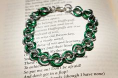 Hogwarts Collection  Mobius Chainmaille Bracelet  Slytherin by HowlOwl on Etsy. Harry Potter