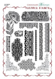 Lace Fragments Rubber stamp sheet - A4 - Chocolate Baroque