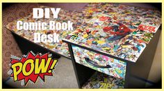DIY Comic Book Desk .this would work great with any theme!