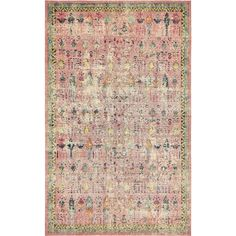 Unique Turkish Alta Pink/Yellow Border Area Rug (10'6 x 16'5) (Pink), Size 11' & Up