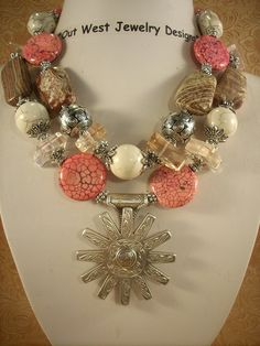 Cowgirl Necklace Set - Chunky Howlite Turquoise and Jasper with a Spur Rowel Pendant. $57.95, via Etsy.