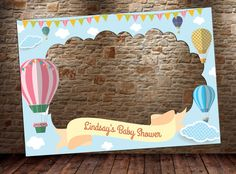 Hot Air Balloon Frame DIGITAL FILE 28x40 or 40x60 Hot by htcknit Boy Baby Shower Themes, Baby Shower Balloons, Birthday Balloons, Baby Shower Favors, Baby Shower Parties, Baby Boy Shower, Baby Birthday, 1st Birthday Parties, Baby Shower Frame