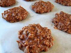No Bake Chocolate Oatmeal Cookies Often times my dad made us delicious no-bake cookies coming up. And now... He likes my recipe better than his. This is the one I use. However, with 6 kids... I double it! LOL