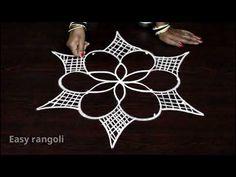 latest easy rangoli designs with 5 dos * simple kolam designs with dots * muggulu designs with dots Rangoli Designs Latest, Latest Rangoli, Colorful Rangoli Designs, Beautiful Rangoli Designs, Kolam Designs, Simple Flower Rangoli, Simple Rangoli, Padi Kolam, Muggulu Design