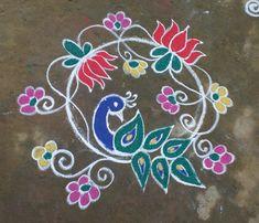 Rangoli Patterns, Rangoli Ideas, Rangoli Designs With Dots, Rangoli Designs Images, Beautiful Rangoli Designs, Peacock Rangoli, Indian Rangoli, Kolam Rangoli, Easy Rangoli