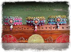 Blue INDIE BUDDHA cuff Crochet BRACELET tribal by GPyoga on Etsy, $74.00