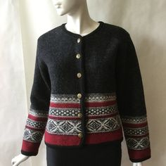 Vintage wool sweater jacket, traditional European style and pattern, dark gray, red, & cream, embossed golden buttons, medium / large by afterglowvintage on Etsy European Style, European Fashion, Vintage Wool, Sweater Jacket, Wool Sweaters, Vintage Outfits, Buttons, Traditional, Gray