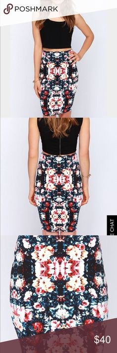 """BodyCon Scuba Skirt 7.25.16 Fit: This garment fits true to size. Length: Mid-thigh to knee length. Size small measures 21.5"""" from top to bottom. Waist: Fitted - stretchy fabric allows custom fit. Hip: Fitted - stretchy fabric allows room for hips. Fabric: Fabric is very stretchy. Only worn once. 🚫pp, trades, holds, sales on other apps or silly questions. Cheers💋 The Fifth Skirts"""