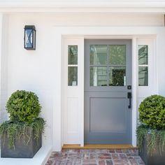 Stunning Dutch Door Design within the glamorous Texas … – Farmhouse Exterior Craftsman Garage Door Design, Front Door Design, Front Door Colors, Garage Entry Door, Porch Entry, Front Porch Plants, Front Door Planters, Big Planters, Metal Planters