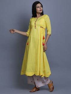 Yellow Lilac Cotton Embroidered Kurta with Pants - Set of 2