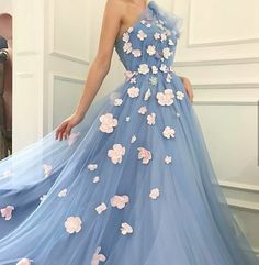 Charming One Shoulder, Tulle Prom Dress ,Applique Prom Dresses ,A-Line Long Evening Dresses ,Prom Gowns, Tulle Prom Dresses Cheap,Long Party