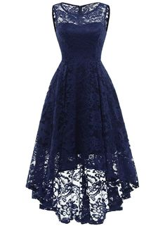 Market In The Box Women's Lace Dress Vintage Floral Sleeveless Hi-Lo Formal Party Dress Asymmetrical Cocktail Formal Swing Dress Cute Dresses, Short Dresses, Casual Dresses, Elegant Dresses, Pretty Dresses For Teens, Party Dresses For Women, Dresses Dresses, Summer Dresses, Floral Dresses