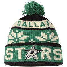 4de777413c8 Men s Dallas Stars Reebok Black Face-Off Snowflake Cuffed Knit Hat with Pom