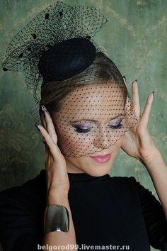 Black mini pillbox veiled hat French Veil Fascinator by feevahat, $90.00