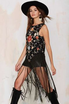 After Party Vintage Kathleen Embroidered Silk Fringe Top - Clothes