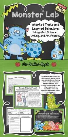 Monster Lab: This integrated writing and science project will assess student understanding of inherited traits and learned behaviors in a meaningful way.  Resource includes lesson plans, differentiated project pages and grading rubrics.