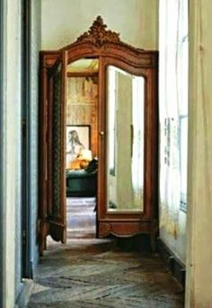 """the house in my dreams the house in my dreams,Home Decor Antique Wardrobe reconfigured and re-purposed as a """"secret"""" doorway. Future House, Home Design, Interior Design, Diy Interior, Design Ideas, Interior Doors, Diy Design, Design Interiors, Wardrobe Doors"""