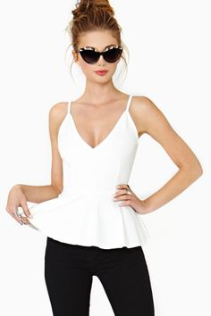 Josette Peplum Top in White