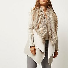 River Island Cream faux fur fallaway jacket