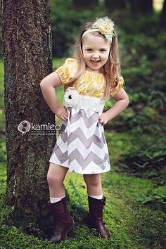 Girls Yellow White and Grey Chevron Dress with Removable Flower (sizes 6M to 6) $49