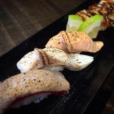 Seared cooked sushi#salmon#kingfish#tuna#scallop#gochiso#japanese#fresh#instafood#foodgasm#foodporn #foodstagram#willoughby#sydney#foodie#aburi##sushi#고치소#일식#맛스타그램#먹스타그램#인스타푸드#윌로비#시드니#아부리#스시#살몬#마구로#호따떼 chef@gochiso by gochisowilloughby