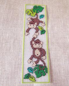 Back to school, cross stitch bookmark, Little Monkeys