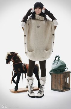 High Collar Beige Six Buttons Long Sweater Coats