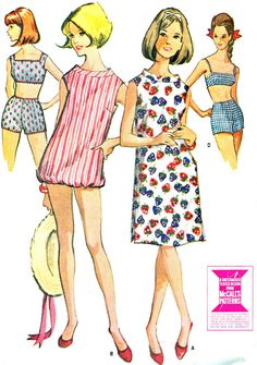 1960s Two Piece Swimsuit Bra Top Hot Pants Boy Shorts Beach Cover Up Shift Dress Bathing Suit Vintage Sewing Pattern McCalls 7796 Bust 34