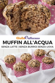 Muffin all'acqua WATER MUFFINS are easy to prepare and perfect for those who are intolerant to eggs and lactose. Dairy Free Salads, Dairy Free Soup, Dairy Free Snacks, Dairy Free Breakfasts, Dairy Free Recipes For Kids, Dairy Free Brownies, Dairy Free Pancakes, Raw Desserts, Love Eat