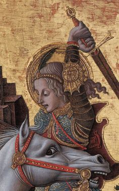 Crivelli's use of gold in this painting is extremely refined. He applied sheets of gold leaf to the sky behind Saint George and to the raised pastiglia details of his armor. Crivelli also carefully painted powdered gold onto the hilt of the sword and added silver to its blade, demonstrating his mastery of multiple techniques. He then painted on top of the gold and silver to add shadows and highlights.