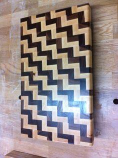 End Grain Cutting Board, Zig Zag Pattern, Maple and Walnut.