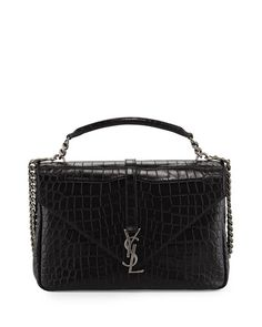 ecaf5cf9a431 V2W0U Saint Laurent Monogram College Croc-Embossed Crossbody Bag