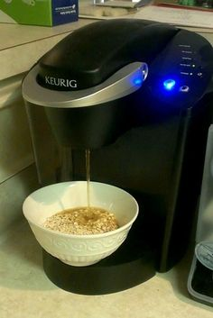 Keurig coffee machines can make instant oatmeal, ramen, or anything else that just needs hot water. | 27 Clever New Ways To Use Your Kitchen Appliances  @Laken Flinders Flinders Flinders Flinders Flinders Flinders Flinders Flinders Ranee  Cool!